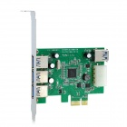 IOCREST PCEET188-3E1I 5Gbps 4-Port USB3.0 Desktop PC PCI-E Card Adapter - Green