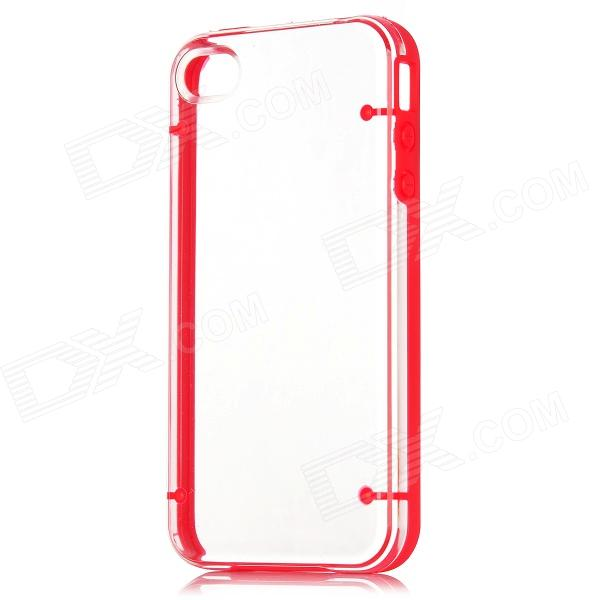 Newton Concise Protective Plastic Back Cover Case für iPhone 4 / 4S - Rot + Transparent