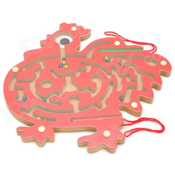 Cock Pattern Wooden Maze Educational Toys - Red wooden magnetic labyrinth maze educational game toy