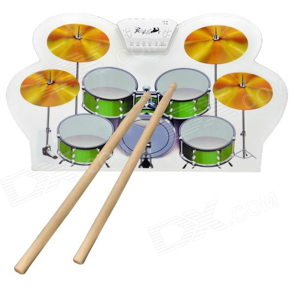 W1008 Portable Roll-up USB Drum Kit with Drum Sticks - White + Green + Yellow 9 pad silicon roll up electronic drum with drum sticks and usb cable for midi game percussion instrumenst drum lover