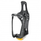 Motorcycle Bike Carbon Fiber Water Bottle Holder Cage w/ Adjustable Button - Black + Grey