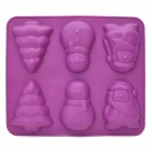 SP98030 Cartoon Christmas Tree + Snowman + Santa Claus Shaped Cake Maker DIY Mould Tray - Purple
