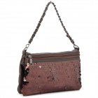 Fashion Lady's PU Leather Two-Side Waterproof One Should Bag w/ Strap - Coffee