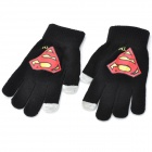 Superman Logo Capacitive Screen Touching Hand Warmer Gloves - Black (Size M)