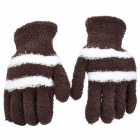 Fashion Adult's Full Finger Plush Warm Gloves - Brown + White (Pair)
