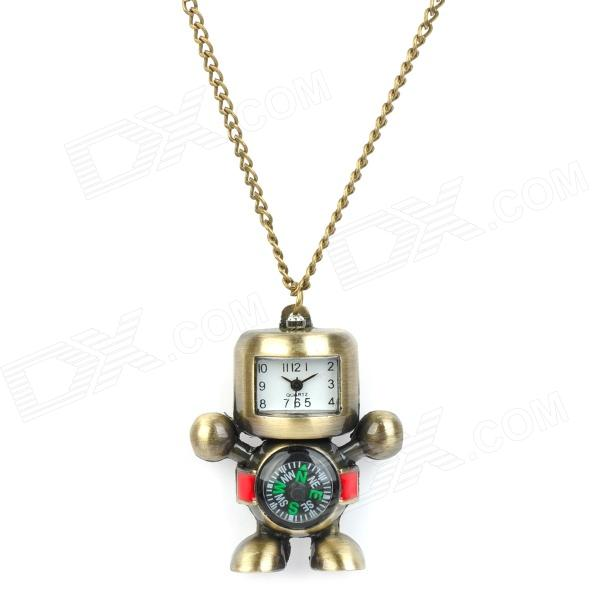 Retro Robot Style Pocket Quartz Watch w/ Necklace Chain / Compass - Bronze (1 x 377S) cute owl pendant chain necklace dual dial quartz pocket watch bronze 80cm chain 1 x lr626