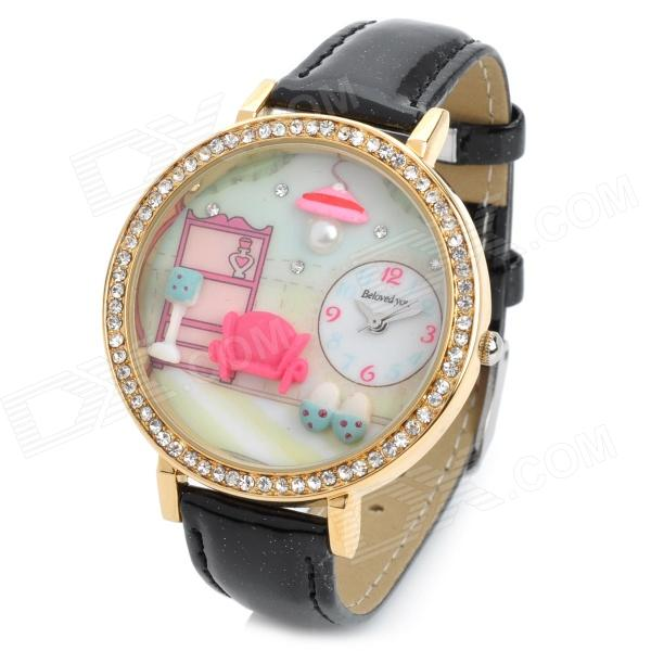 Warm House Style Fashion Girl's PU Band Quartz Analog Waterproof Wrist Watch - Black + Golden