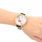 Réchauffer PU Quartz analogique bracelet étanche Watch de maison Style Fashion Girl - noir + or