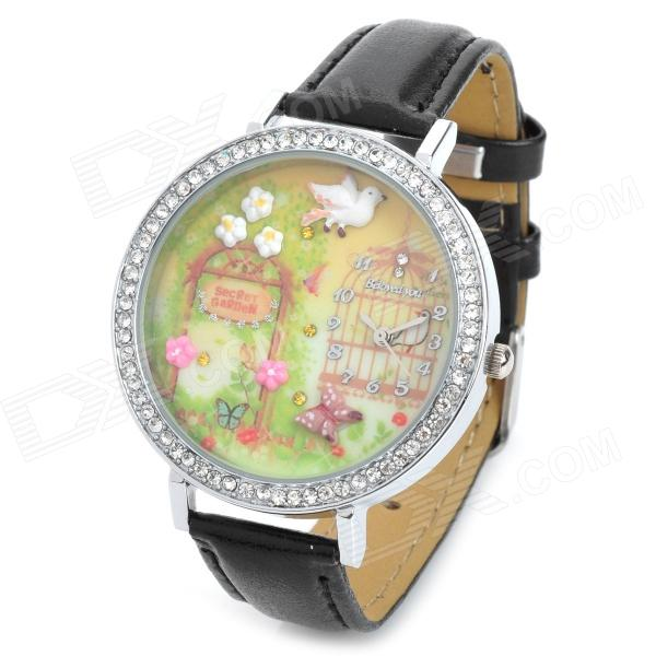 Bird & Flower Style Fashion Girl's PU Band Quartz Analog Waterproof Wrist Watch - Black + Silver