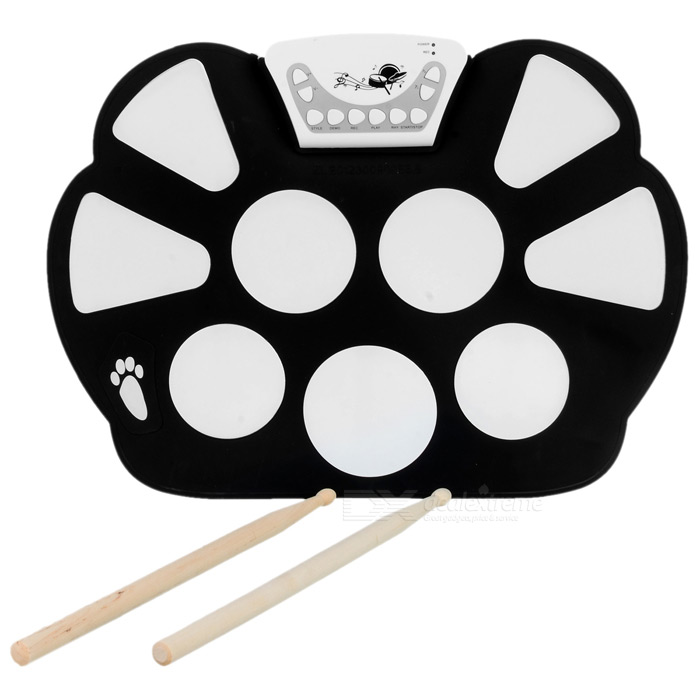 W758 Portable Flexible Plastic Roll-up Drum Kit - Black + White (2 x AA) compatible okidata 45103729 drum white chip for oki c911dn c931dn c931dp c931e c941dn c941dncl c941dnwt c941dp c941e reset chips