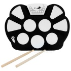 W758 Tragbare Flexible Plastic Roll-up Drum Kit - Black + White (2 x AA)