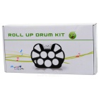 W758 Portable Flexible Plastic Roll-up Drum Kit - Black + White (2 x AA)