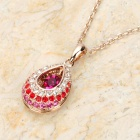 KCCHSTAR BK-264 Water Drop Style 18K Gold Plated Alloy + Rhinestone Pendant Necklace - Golden + More