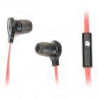 BZY BZY-S400 Stylish Flat Cable In-Ear Earphones with Microphone - Red + Black (3.5mm Plug / 114cm)