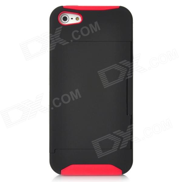 Protective Plastic Cover Silicone Case w/ Holder Stand for Iphone 5 - Red + Black silicone protective storage carrying case charge holder stand charging wallet for apple watch series 1 series 2