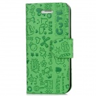 Protective PU Leather Flip-Open Case for Iphone 5 - Green