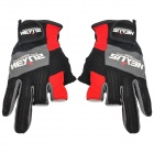 Outdoor Non-Slip Fishing Gloves - Black + Grey + Red (Pair)