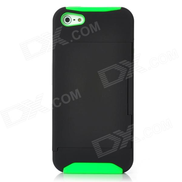 Protective Plastic Cover Silicone Case w/ Holder Stand for Iphone 5 - Green + Black smkj protective plastic silicone back case w stand for iphone 6 4 7 black