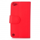 Protective Flip-Open PU Leather Case for Ipod Touch 5 - Red
