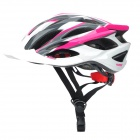 PROPRO BHM-001W Cycling Safety Bike Helmet 3-LED Tail Light - Deep Pink + White + Grey