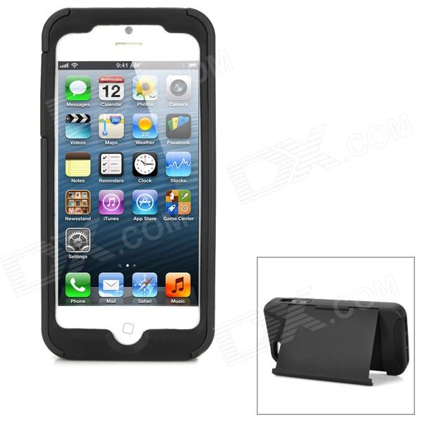 Protective Silicone Soft Back Case w/ Plastic Hard Case Cover Stand for Iphone 5 - Black smkj protective plastic silicone back case w stand for iphone 6 4 7 black