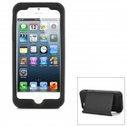 Protective Silicone Soft Back Case w/ Plastic Hard Case Cover Stand for Iphone 5 - Black