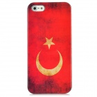 Vintage Turkey National Flag Pattern Protective Back Case w/ Screen Protector Set for Iphone 5