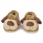 Cute Dog Shaped Baby Cotton + Polyester Anti-Skid Warm Shoes - Grey Beige + Oyster White (Pair)
