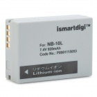 Ismartdigi NB-10L Replacement 7.4V 920mAh Battery Pack for Canon sx40HS / PowerShot G1X - Grey