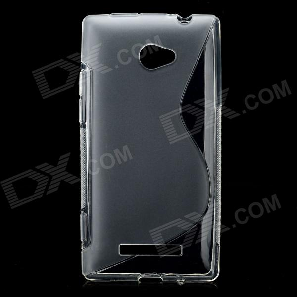 S Pattern Protective TPU Soft Case for HTC 8X - Translucent White