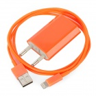 USB Data / Charging Lightning Cable + EU Plug Power Adapter Set for iPhone 5 - Orange