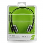 COSONIC CT-555 Stereo Headphones w/ Mic + Volume Control for PC- Black (3.5mm Plug / 220cm-Cable)