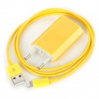 USB Data & Charging Lightning Cable + EU Plug Power Adapter Set for iPhone 5 - Yellow