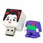 Cartoon Kimono Woman Style USB 2.0 Flash Drive - Black + Purple + White (8GB)