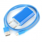 USB Data / Charging Lightning Cable + EU Plug Power Adapter Set for iPhone 5 - Blue