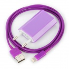 USB Data / Charging Lightning Cable + EU Plug Power Adapter Set for iPhone 5 - Purple
