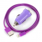USB Data / Charging Lightning Cable + Car Charger Set for iPhone 5 - Purple