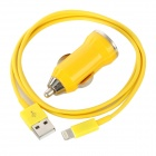 Yellow Lightning Cable + Car Charger Set