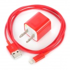 AC Power Adapter Charger + USB Sync Data / Charging Lightning Cable Set for iPhone 5 - Red