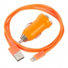 USB Data / Charging Lightning Cable + Car Charger Set for iPhone 5 - Orange
