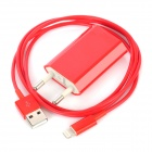 USB Data / Charging Lighting Cable + EU Plug Power Adapter Set for iPhone 5 - Red