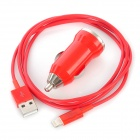 Red Lightning Cable + Car Charger Set