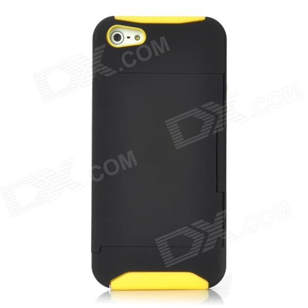 Protective Plastic Cover Silicone Case w/ Holder Stand for Iphone 5 - Yellow + Black smkj protective plastic silicone back case w stand for iphone 6 4 7 black