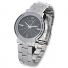 Wilon 2707 Stainless Steel Analog Quartz Wrist Watch for Men - Silver + Black (1 x SR626W)