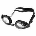 Portable PC Lens Silicon Strap Swimming Goggles Glasses w/ Carrying Case - Black