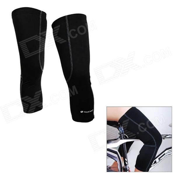 NUCKILY KE001 Cycling Protective Polyester Warm Kneecap - Black (Size XXL / Pair)