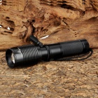 Cree XM-L T6 700lm 5-Mode White Zooming Flashlight w/ USB Outlet - Black (1 x 18650 / 26650)