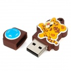 Tiger of Chinese Zodiac Style USB 2.0 Flash Drive - Brown + Yellow (4GB)