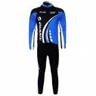 Sports Cycling Long Sleeve Suit Jersey + Pants Set - Black + Blue + White (Size L)