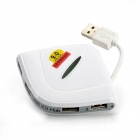 FuYunDa FD-UH-027 480Mbps 4-Port USB 2.0 Hub w/ USB 2.0 Male to Female Extension Cable - White